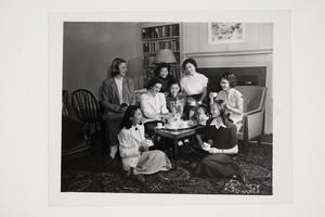 Group of students from the United States, Japan, and China having tea