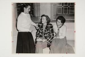 Eleanor Tubby '50 (left) in the library with two international students l-r, Stanislava Apanaviciute '51 (Lithuania), and Eva Marie Lang '51-'52 GS (Hungary)