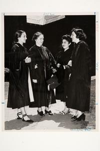 Group at Commencement, l-r, Clara Ruth James '50 (Argentina), Dean Meribeth Cameron, Irma Rojas '50 MA (Chile), and Nora Ther Thielen '48-'49 GS (Brazil)