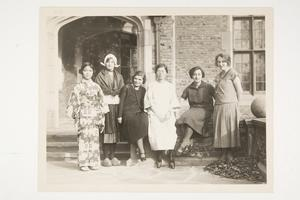 Members of the Cosmopolitan Club, including Fumiko Mitani '26 (Japan) and Elsa Barnouw '28 (Holland) on the left and Helene Picquot '25 (France) on the far right