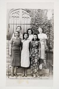 Six international students l-r, back row, Francoise Aron '41 MA, Andrea Ungar '43, and Cornelia Heyning '42; front row, Hermine Kossen '41 MA, Grace Chen '41 MA, and Violette Chun x'43