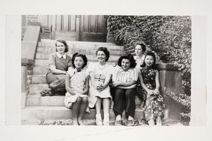 Six international students l-r, Hermine Kossen '41 MA, Grace Chen '41 MA, Cornelia Heyning '42, Andrea Ungar '43, Francoise Aron '41 MA, and Violette Chun x'43