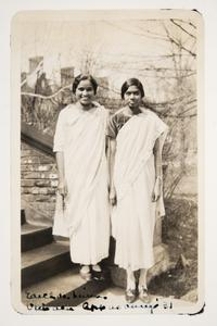Two students from India l-r, Edith DeLima '30 MA and Vimala Appasamy '31, from the album of Janet Congdon, Class of 1932