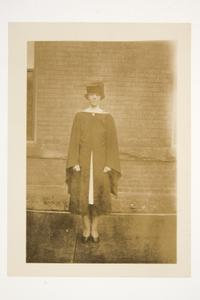 An international student in cap and gown, from the memory book of Donna Folant, Class of 1927