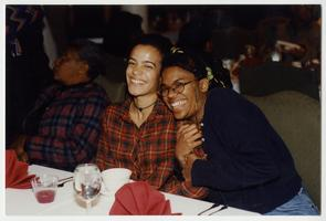 Students Nicole (Niki) Marshall, Class of 2000, and Denise Groce, Frances Perkins Scholar, at the Black Alumnae Conference
