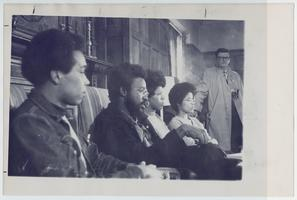 Five-College students, seated l-r, Wilburn Williams, Jr. '71 (Amherst), Willie R. Hasson, Ed.D. '76 (UMass), Cynthia Stozier (Ismat Abdal-Hagg) '70 (MHC), and Angie Noel '72 (Smith)