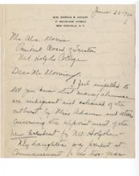 Letter from Harriet Quick Hoover (Mrs. Norman R. Hoover) to Alva Morrison