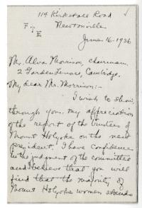 Letter from Fannie T. Everts (Mrs. Albert P.) Alva Morrison