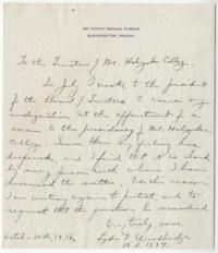 Letter from Lydia D. Woodbridge to the Trustees of Mount Holyoke College