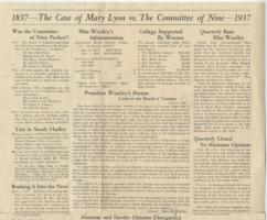 1837--The Case of Mary Lyon vs. The Committee of Nine--1937