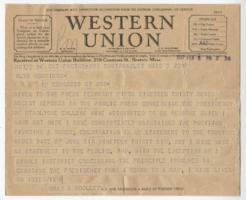 Telegram from Mary E. Woolley to Alva Morrison