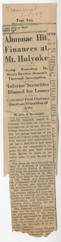 "News article from the Holyoke Daily Transcript and Telegram titled ""Alumnae Hit Finances at Mt. Holyoke"""