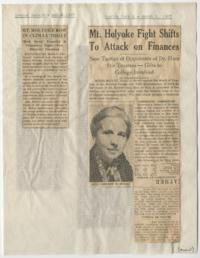 "News articles from the Boston Herald titled ""Mt. Holyoke Row in Climax Today"" and ""Mount Holyoke Fight Shifts To Attack on Finances"""
