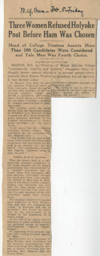 "News article from the New York Sun titled ""Three Women Refused Holyoke Post Before Ham Was Chosen"""