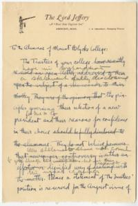 Draft of letter from the Trustees to the Alumnae of Mount Holyoke College