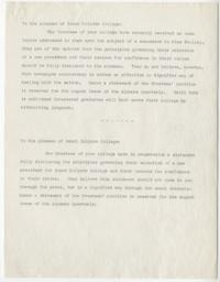 Drafts of letter from the Trustees to the Alumnae of Mount Holyoke College