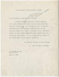 Draft of letter from Alva Morrison to the Alumnae of Mount Holyoke College
