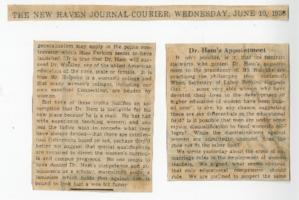 "News article from The New Haven Journal-Courier titled ""Mr. Ham's Appointment"""