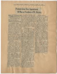 "News article from the Boston Herald titled ""Protests Grow Over Appointment Of Man as President of Mt. Holyoke"""