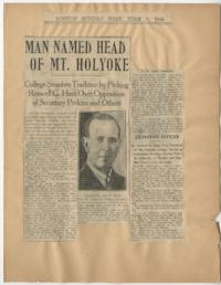 "News article from the Boston Sunday Post titled ""Man Named Head of Mt. Holyoke"""