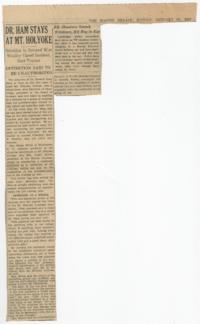 "News article from the Boston Herald titled ""Dr. Ham Stays at Mt. Holyoke"""