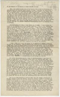 Speech given by Alva Morrison to the faculty at the Faculty Meeting held on April 15, 1935
