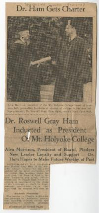 "News article from the Springfield Union titled ""Dr. Roswell Gray Ham Inducted as President of Mount Holyoke College"""