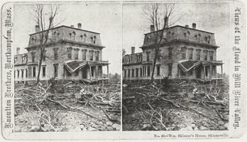 Photocopy of stereoscopic image of William Skinner's house in Skinnerville after the Mill River Valley flood