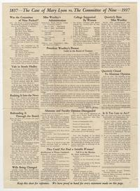 "Broadside, ""The Case of Mary Lyon vs. The Committee of Nine"""