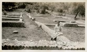 Marion Blake at the ancient ruins of Horace's Sabine Farm, in Italy