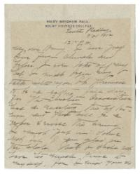 Letter and envelope, with enclosed newspaper article, from Mary Woolley to Jeannette Marks
