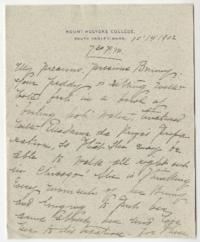 "Letter and envelope from Mary Woolley to Jeannette Marks, with enclosed letter from Lida King and program, ""Chicago Congregational Club: An Evening with Educators"""