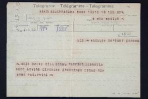 Telegram from Jeannette Marks to Mary Woolley