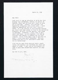 Letter from Jeanette Marks to Mary Woolley, dated March 21, 1940