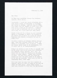 Letter from Jeanette Marks to Mary Woolley, with enclosed letter to Tom, dated February 12, 1940