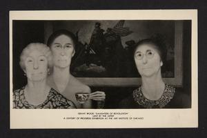"Postcard with the painting ""Daughters of the Revolution"" by Grant Wood."
