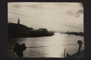 Wide shot of Vardar river.