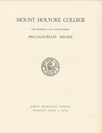 Mount Holyoke College one hundred and twenty-first baccalaureate service, 1958