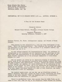 A Plea for the Uncommon Woman' Inaugural Address by Richard Glenn Gettell, November 9, 1957