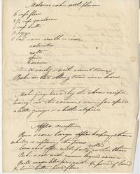 Mary Lyon's handwritten recipes for molasses and Indian Pudding, ca. 1845