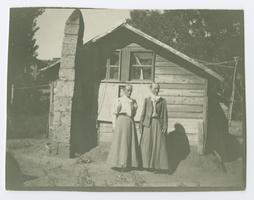 The Ely sisters, l-r, Mary Ann Caroline '61 and Charlotte Elizabeth '61, standing outside their dwelling in Bitlis, Turkey; possibly temporary quarters after the 1907 earthquake