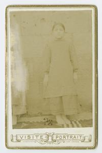 Little Armenian orphan girl stolen by the Kurds during the time of Charlotte and Mary Ely in  eastern Turkey, cabinet card portrait