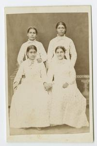 Four Armenian girls, possibly students at the school founded by Charlotte and Mary A. C. Ely in Bitlis, Turkey