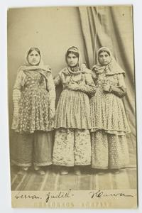 Three Armenian girls in traditional clothing, possibly students at the school founded by Charlotte and Mary A. C. Ely in Bitlis, Turkey