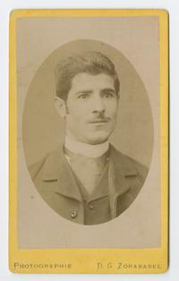 Young Armenian man in Turkey, cabinet card portrait from the time of the Ely sisters' missionary activities