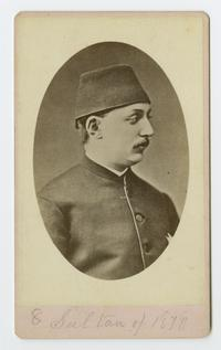 Abdulhamid II, Ottoman Sultan 1876-1909, when the Ely sisters were missionaries in Turkey; cabinet card portrait