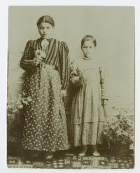 Two Armenian girls in traditional clothing, possibly students at the school founded by Charlotte and Mary A. C. Ely in Bitlis, Turkey