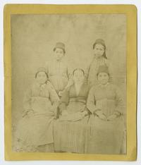 "A teacher, one of Mary Ely's ""girls"" at the Bitlis school, surrounded by four of her pupils"