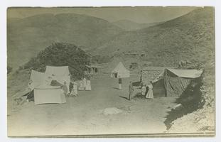 View of the summer camping place in Bitlis, Turkey, showing the Maynards' terrace with tents of delegates to the annual conference of missionaries