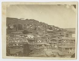 View of Moosh (Muş), Turkey, with buildings on a hillside, as it looked when Charlotte and Mary Ely were missionaries in eastern Turkey